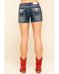 Grace in LA Women's Dark Wash Snowflake Shorts, Blue, hi-res