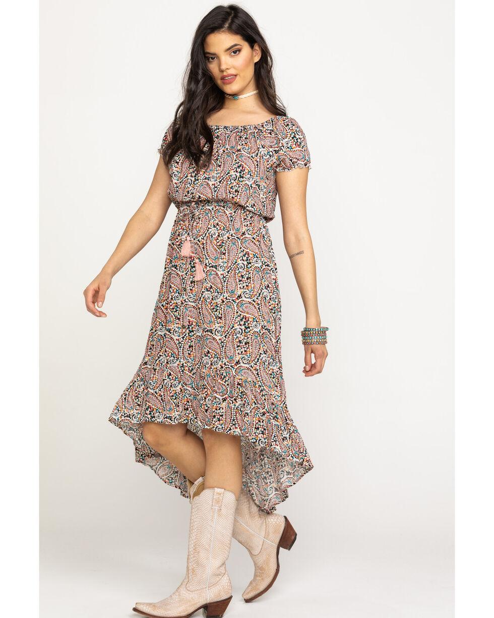 Eyeshadow Women's Pink Ditsy Floral Hi-Low Dress, Pink, hi-res