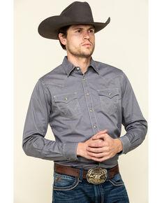 Wrangler Retro Men's Premium Grey Solid Long Sleeve Western Shirt , Grey, hi-res