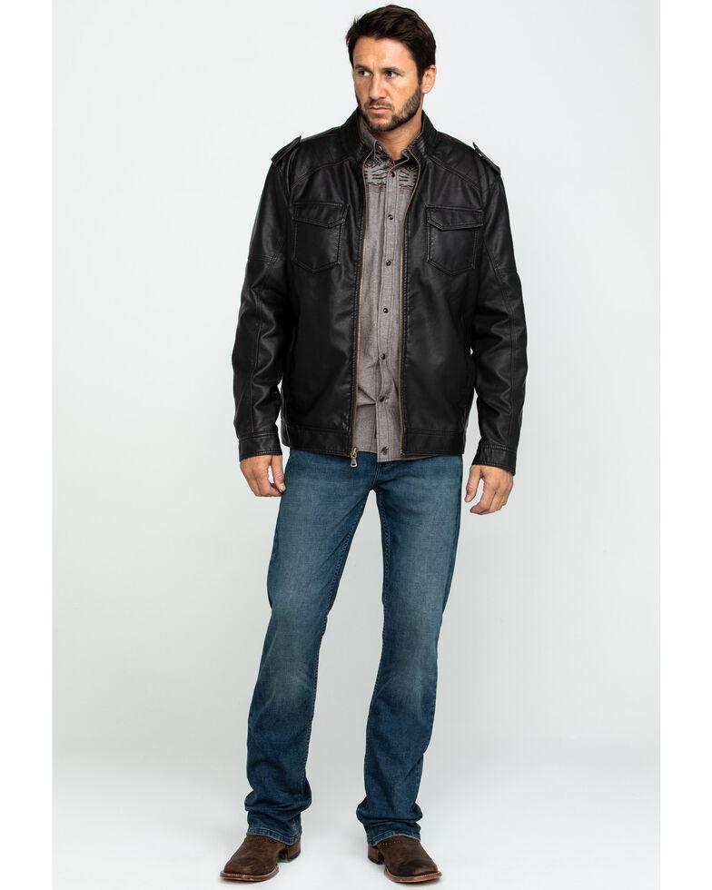 Cody James Men's Backwoods Distressed Faux Leather Moto Jacket , Brown, hi-res