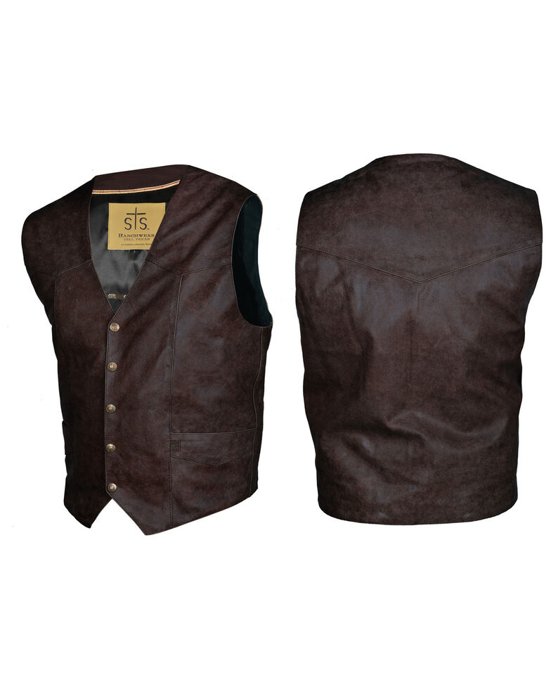 STS Ranchwear Men's Brandy Leather Chisum Vest - Big , Burgundy, hi-res