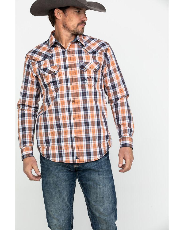Cody James Men's Axe Line Plaid Long Sleeve Western Shirt , Orange, hi-res