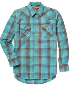 Wrangler 20X Men's Turquoise Flame-Resistant Long Sleeve Shirt - Big & Tall , Turquoise, hi-res