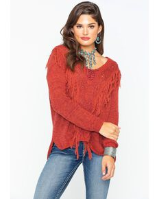 Shyanne Women's Lace Up Fringe Sweater , Rust Copper, hi-res