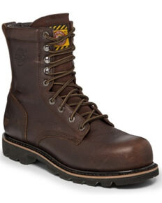 Justin Men's Miner Waterproof Work Boots - Composite Toe, Brown, hi-res