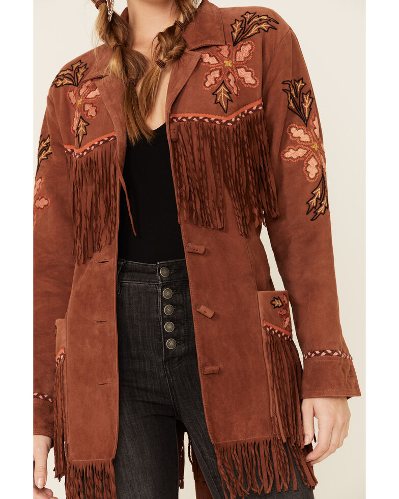 Double D Ranch Women's Viva Maria Fringe Suede Jacket , Brown, hi-res