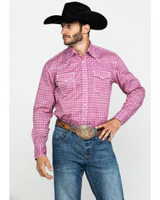 Wrangler 20X Men's Advanced Comfort Magenta Geo Print Long Sleeve Western Shirt , Magenta, hi-res