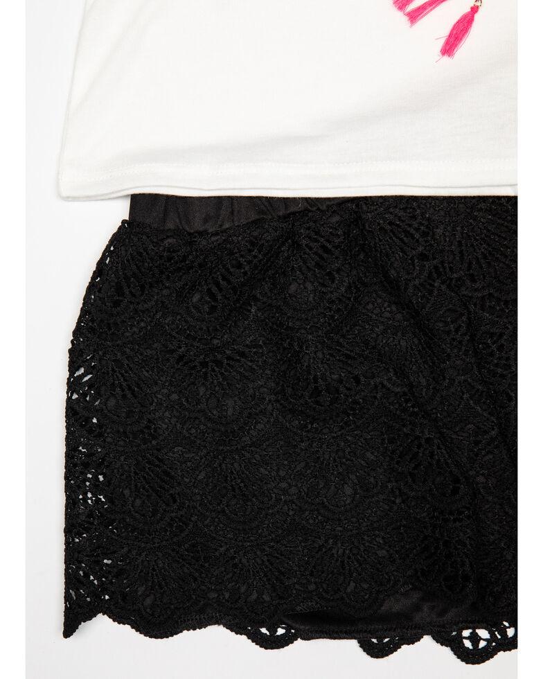Shyanne Girls' Crochet Knit Short & Tee Set, White, hi-res