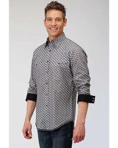 Roper West Made Men's Neat Paisley Print Long Sleeve Western Shirt , Grey, hi-res