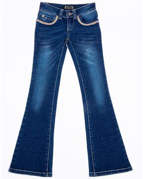 Shyanne Girls' Floral Embroidered Denim Boot Jeans , Blue, hi-res