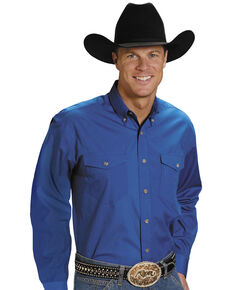 Roper Men's Solid Amarillo Collection Long Sleeve Western Shirt, Royal, hi-res