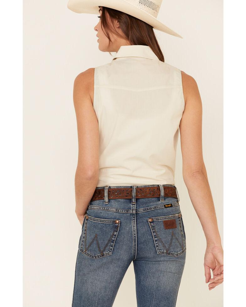 Dale Brisby Women's Bucking Horse Sleeveless Western Shirt , Ivory, hi-res
