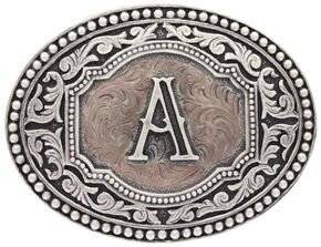 """Montana Silversmiths Initial """"A"""" Two Tone Cameo Buckle , Silver, hi-res"""