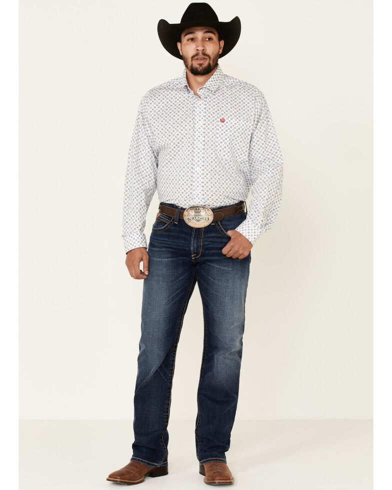 Cinch Men's Large Stretch Geo Print Long Sleeve Western Shirt , White, hi-res