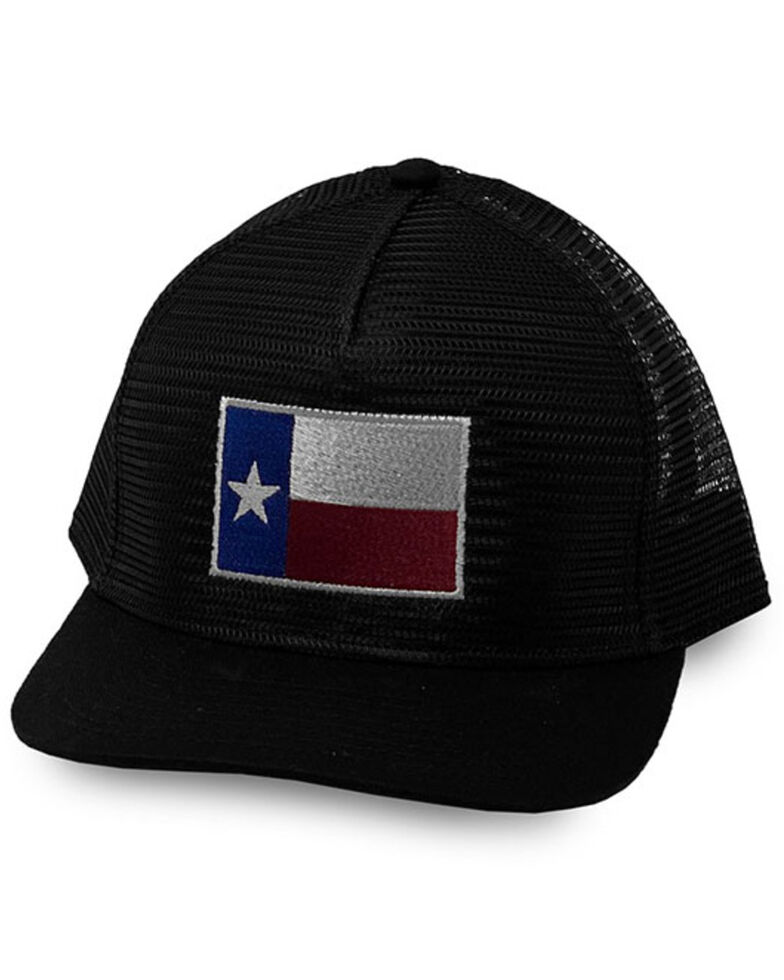 Oil Field Hats Men's Black Texas Flag Patch Mesh-Back Ball Cap , Black, hi-res