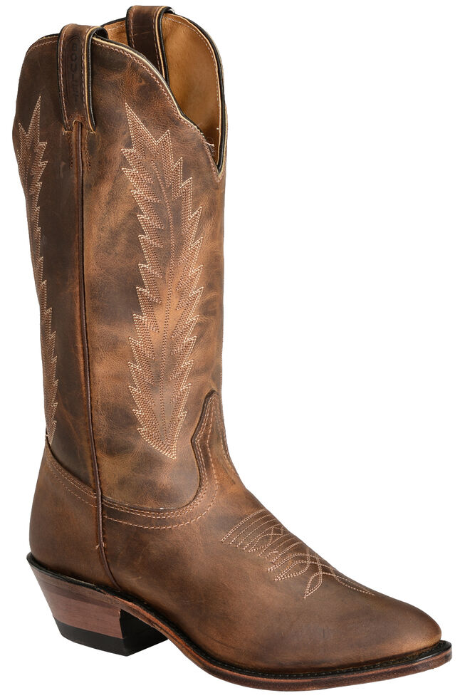 Boulet Fancy Stitched Cowgirl Boots - Medium Toe, Golden, hi-res