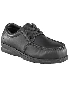 Florsheim Women's Black Pucker Oxford Work Shoes - Steel Toe, Black, hi-res