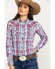 Ariat Women's Blue Plaid Real Vibrant Snap Long Sleeve Western Shirt , Multi, hi-res
