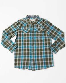 Cody James Boys' Juneau Plaid Long Sleeve Flannel Shirt , Blue, hi-res