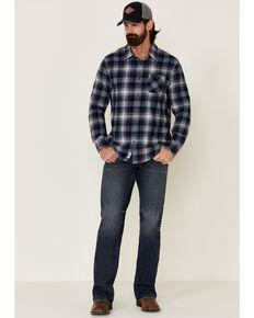Flag & Anthem Men's Blue Eastlake Plaid Long Sleeve Western Flannel Shirt , Blue, hi-res