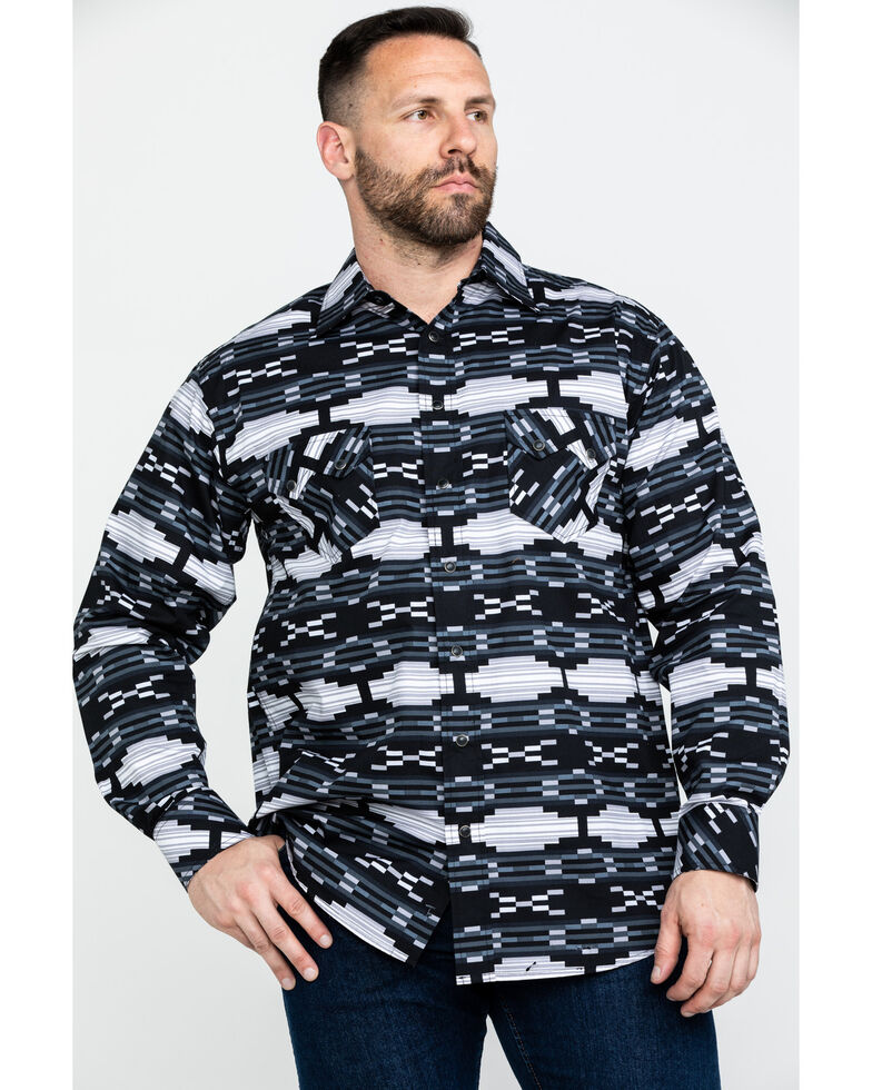 Tuf Cooper Men's Black Poplin Print Long Sleeve Western Shirt , Black, hi-res