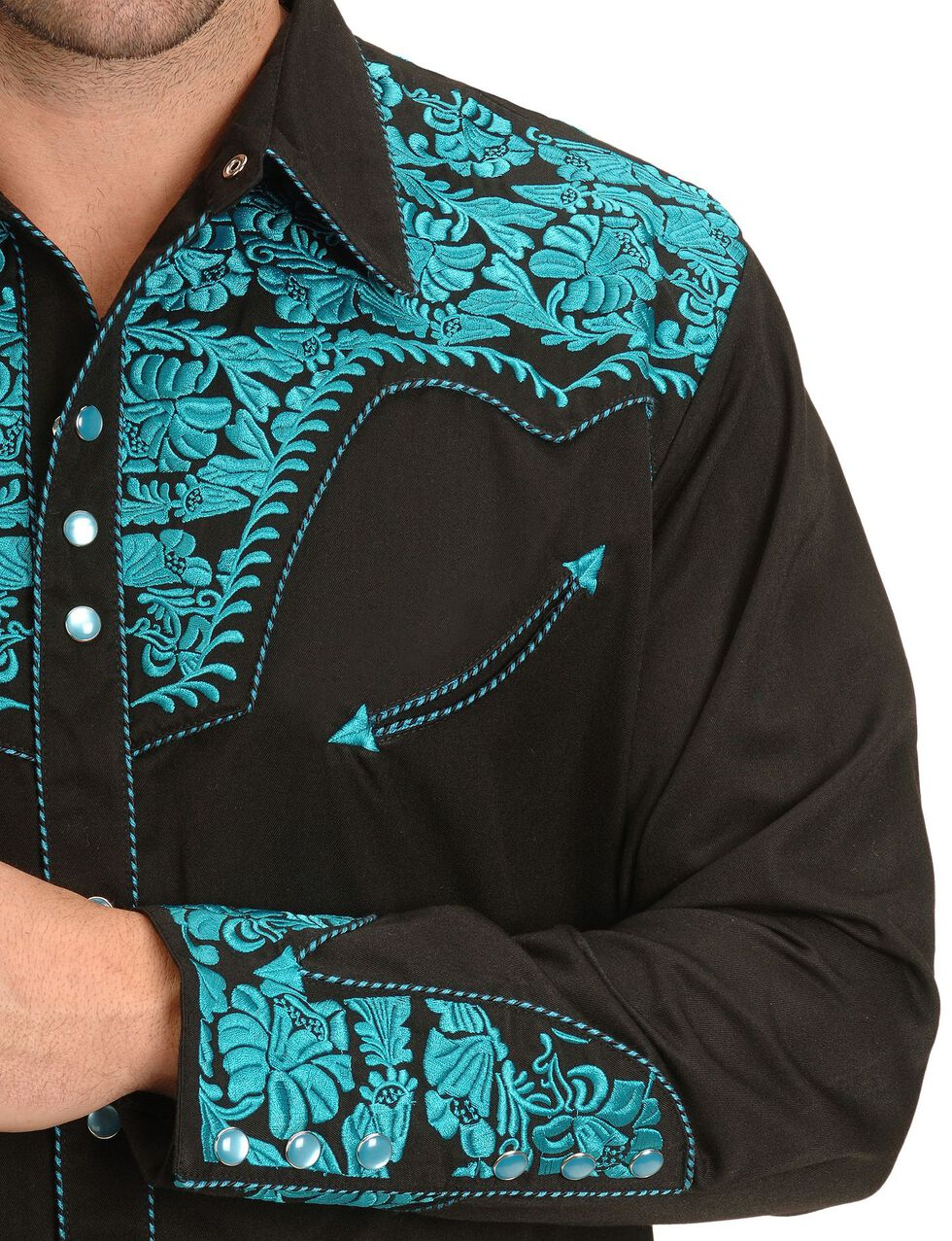P-634X TRC Scully Turquoise Embroidery Retro Western Shirt Big and Tall
