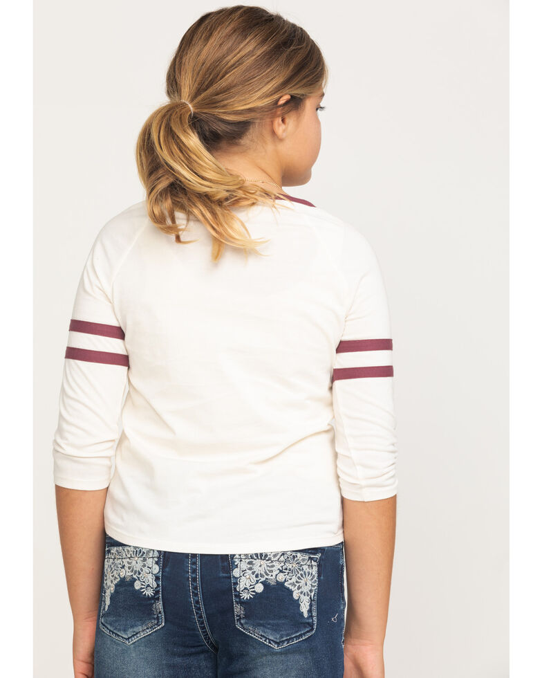 Shyanne Girls' Oatmeal Lucky Graphic Long Sleeve Tee, Ivory, hi-res