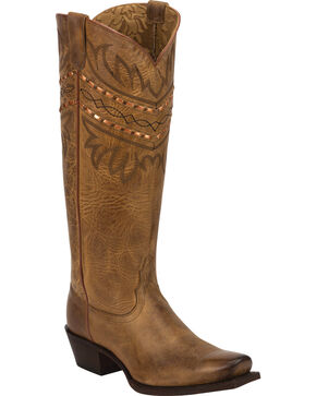 Tony Lama Latigo Tucson 100% Vaquero Cowgirl Boots - Square Toe, Brown, hi-res
