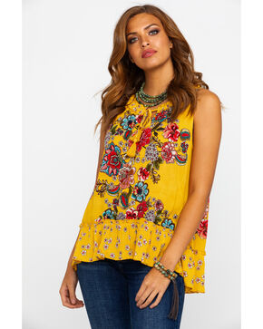 Bila Women's Floral Boho Ruffle Sleeveless Top , Dark Yellow, hi-res