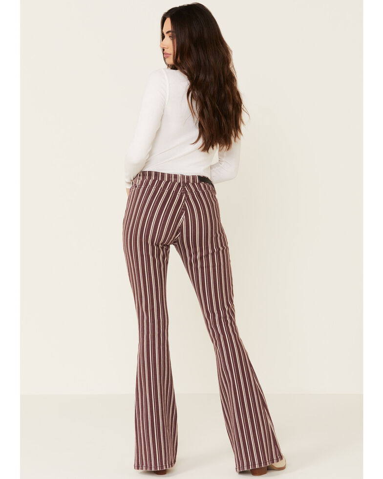 Rock & Roll Denim Women's Maroon Stripe Flare Jeans , Maroon, hi-res