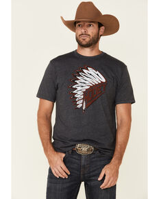 Hooey Men's Headdress Graphic T-Shirt Heather Grey, Heather Grey, hi-res
