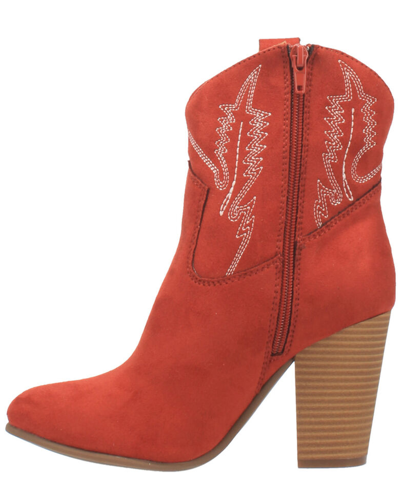 Code West Women's Slayer Fashion Booties - Round Toe, Red, hi-res