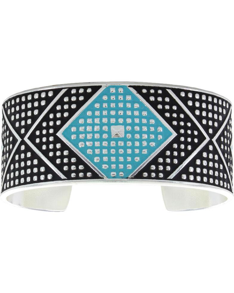 Montana Silversmiths Women's CrossCut Turquoise & Chevron Medium Cuff Bracelet, Silver, hi-res