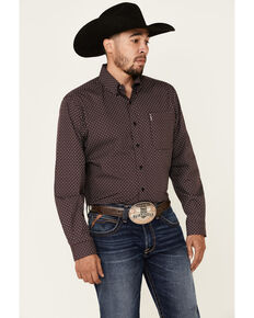 Cinch Men's Modern Fit Black Small Geo Print Long Sleeve Western Shirt , Black, hi-res