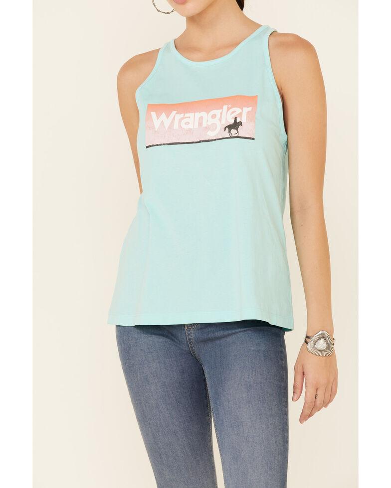 Wrangler Women's Light Blue Sunset Rider Graphic Tank Top , Blue, hi-res