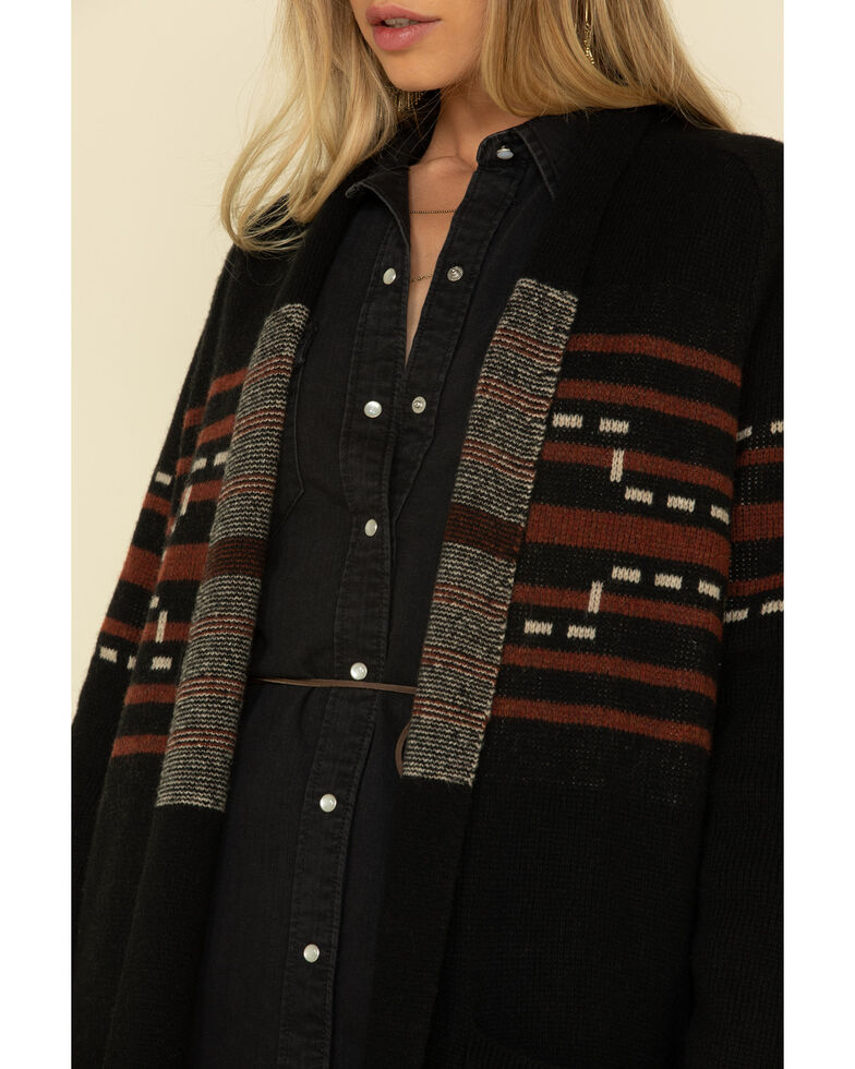 Pendleton Women's Santa Rosa Open Front Duster Cardigan, Black, hi-res