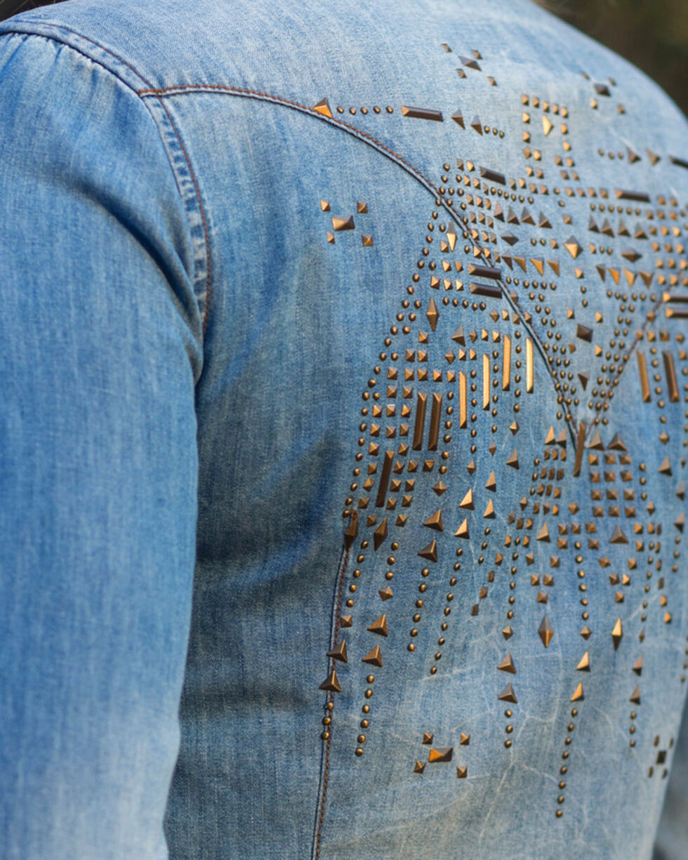 Ryan Michael Women's Indigo Metal Stud Thunderbird Shirt , Indigo, hi-res