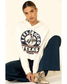Country Deep Women's Lets Rodeo Texas Cropped Graphic Hooded Sweatshirt , Cream, hi-res