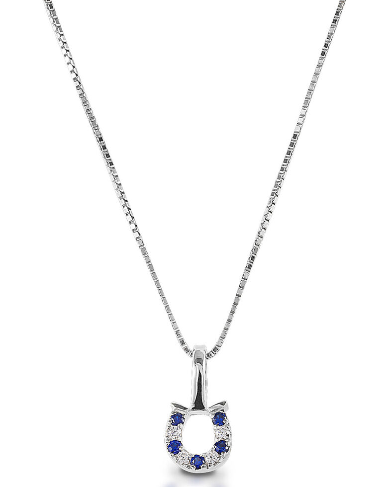 Kelly Herd Women's Blue & Clear Horseshoe Necklace , Silver, hi-res