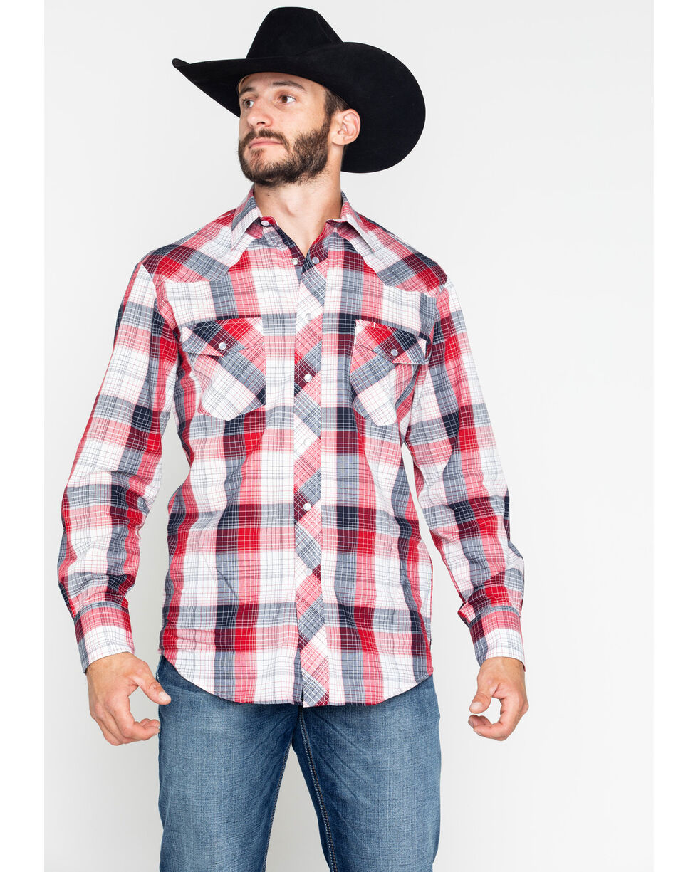 Roper Men's Medium Plaid Snap Long Sleeve Shirt , Red, hi-res