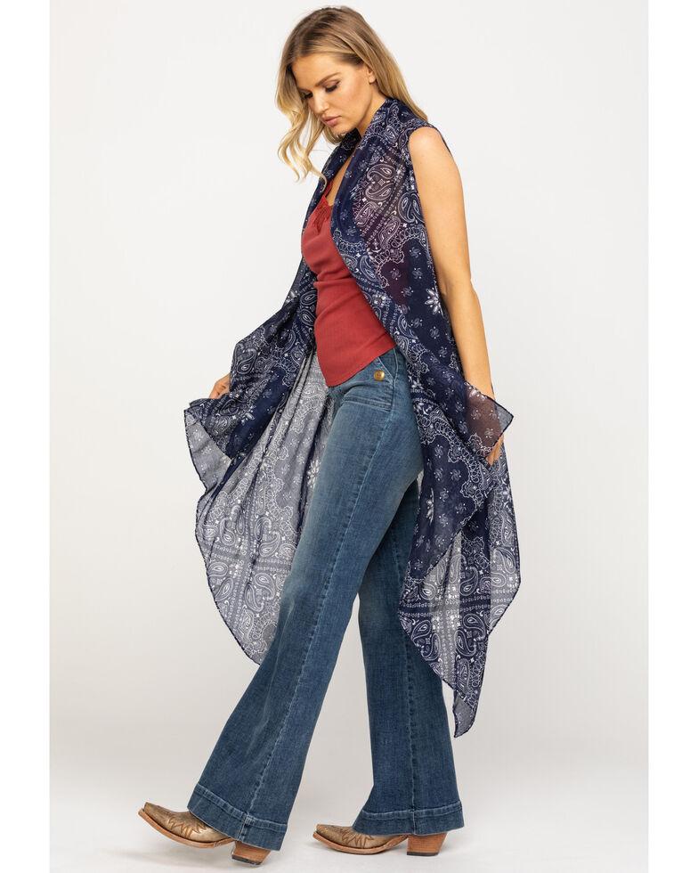 Ariat Women's Navy Bandana Paisley Scarf Vest, Multi, hi-res