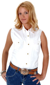 Roper Women's Stretch Poplin Sleeveless Shirt, White, hi-res