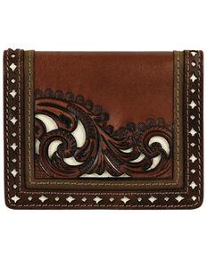 Justin Men's Brown Front Pocket Tooled Wallet, Brown, hi-res