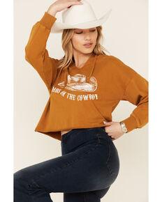 Miss Me Women's Dibs On The Cowboy Graphic Crop Hoodie , Rust Copper, hi-res