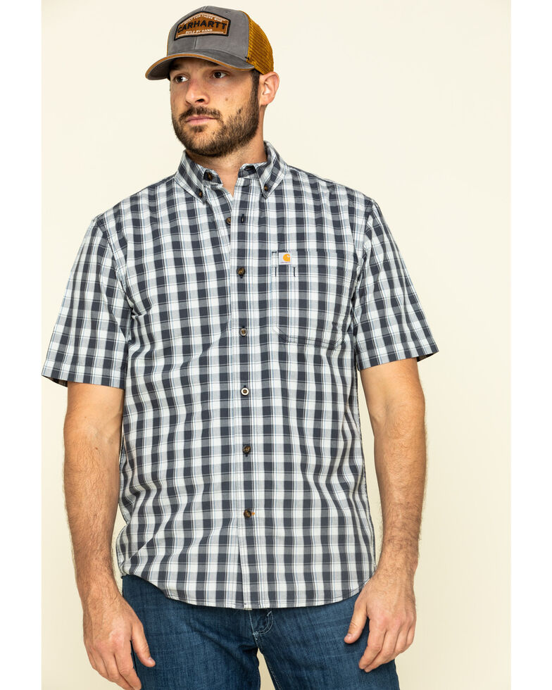 Carhartt Men's Navy Essential Plaid Button Down Short Sleeve Work Shirt - Big , Navy, hi-res