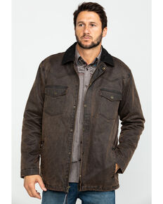 Cody James Men's Westward Oil Skin Field Coat - Tall , Brown, hi-res