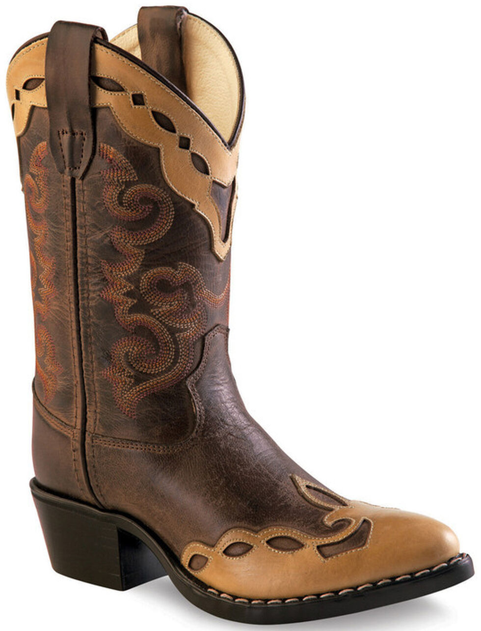 Old West Brown Overlay Childrens' Western Boots - Pointed Toe , Brown, hi-res