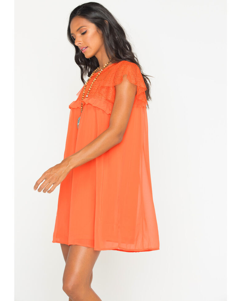 Polagram Women's Orange Lace Ruffle Sleeve Dress, Orange, hi-res
