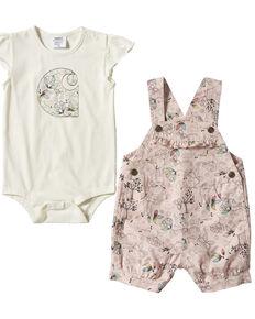 Carhartt Infant Girls' Pink Nature Print Onesie & Shortall Set , Pink, hi-res