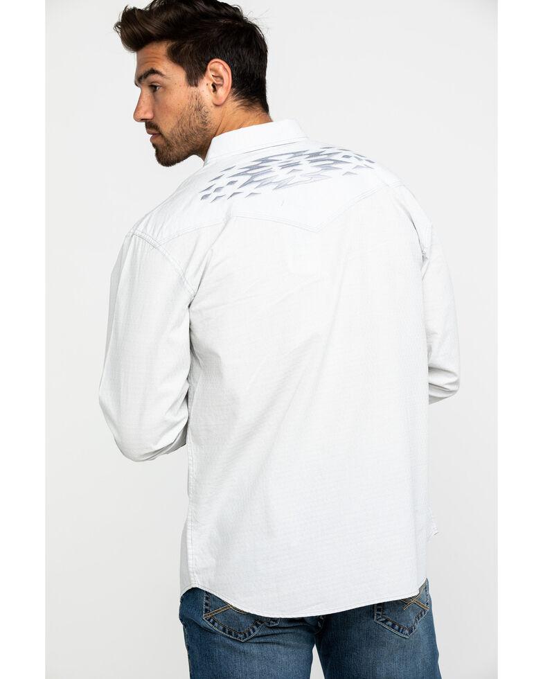 Moonshine Spirit Men's Tetris Solid Aztec Embroidered Long Sleeve Western Shirt , Silver, hi-res